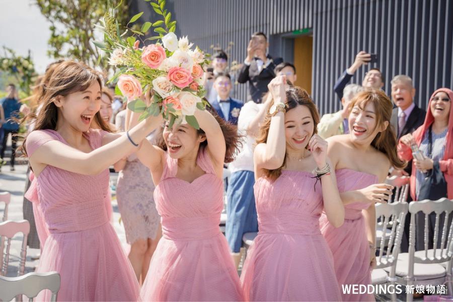 伴娘, ,新娘,趣味抽捧花,送捧花,捧花,新娘捧花,抽花椰菜,分束捧花