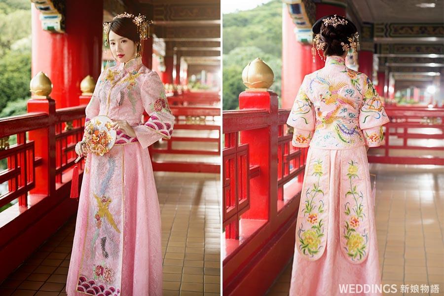 中式禮服,繡禾服,中國風婚紗,中式新娘造型,中式捧花