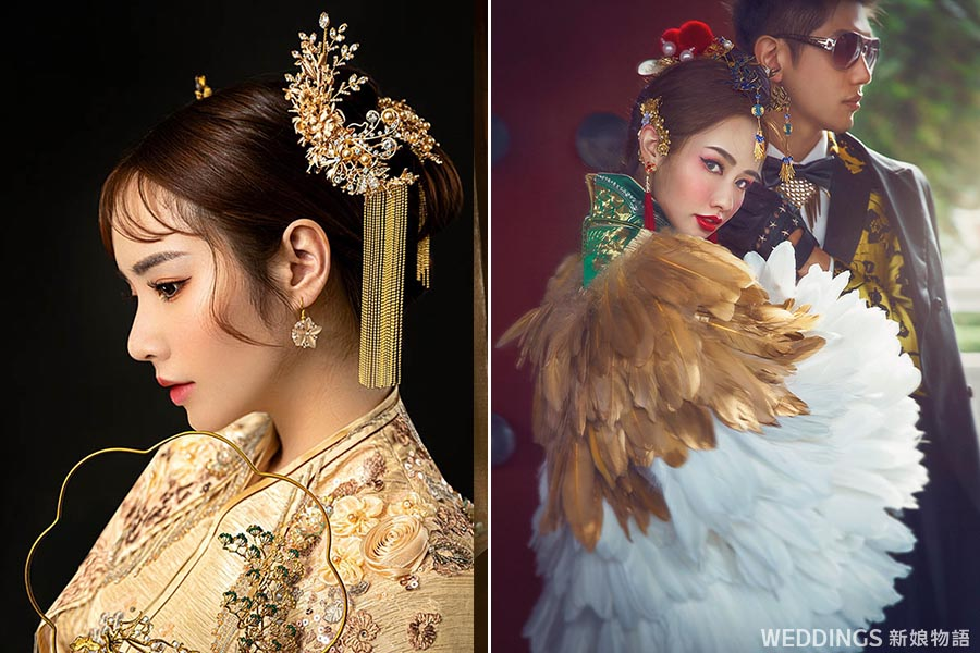 中國風婚紗造型,龍鳳掛造型,龍鳳掛髮型,秀禾服造型,中式新娘髮型,中式婚紗